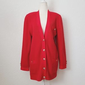80-90s Vintage Red Knit Oversized Cardigan Sweater